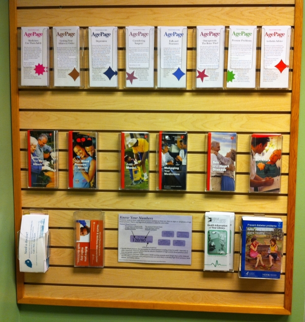 Heart health and aging pamphlets across from the Lifeclinic blood pressure center.